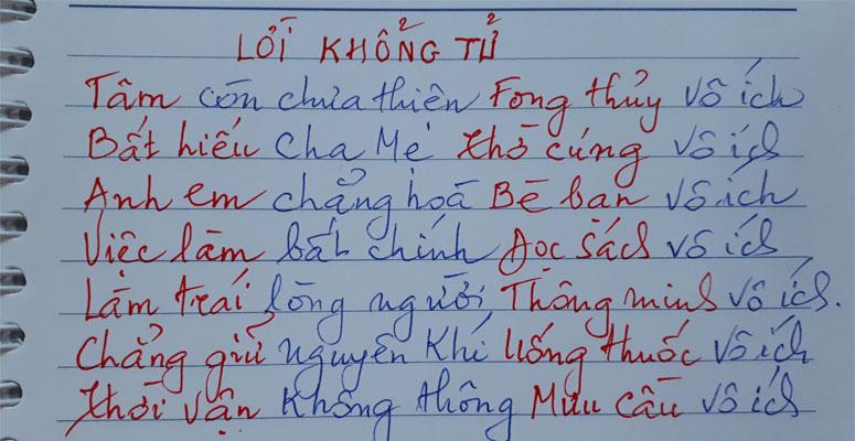 Lời dặn của mẹ Kim An theo Khổng Tử ở trang đầu mỗi cuốn sổ tay kinh nghiệm luận mệnh