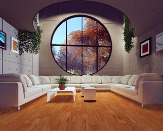 Phòng khách với màu  sắc và hình dạng đặc-biệt thích hợp với người Dụng Hỉ Kim Thủy