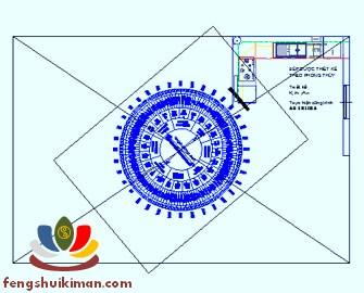 La kinh phân châm Phong Thủy được áp thẳng trực tiếp vào bản vẽ thiết kế bố cục trên máy tính